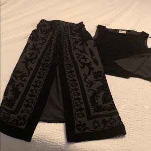 Black velvet shirt and skirt